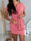 Sommer einfarbiges Minikleid mit Gürtel