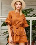 Vestido informal corto a rayas con cuello en O de verano con cinturón