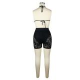 Conjunto de sujetador y pantalones cortos de encaje sexy
