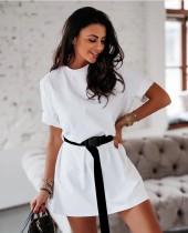 Robe-chemise d'été à col rond avec ceinture
