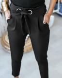 Pantalones de nudo de color liso ocasionales occidentales