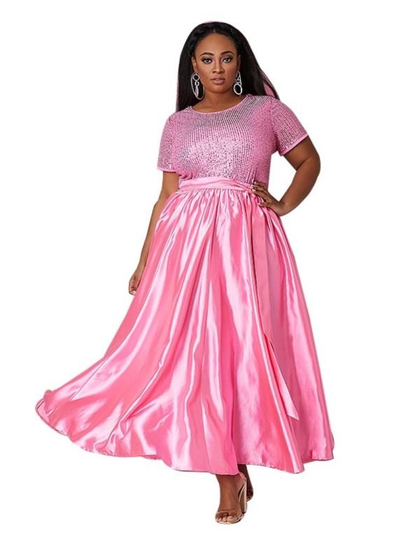 Plus Size African Kurzarm Abendkleid
