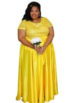 Vestido de noche de manga corta africana de talla grande