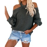 Einfarbiger Halfter Loose Sweater
