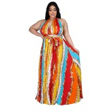 Plus Size Print Afrikanisches Halfter Langes Kleid