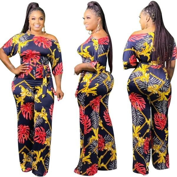Afrikanischer eleganter Overall mit Sommerdruck und Gürtel