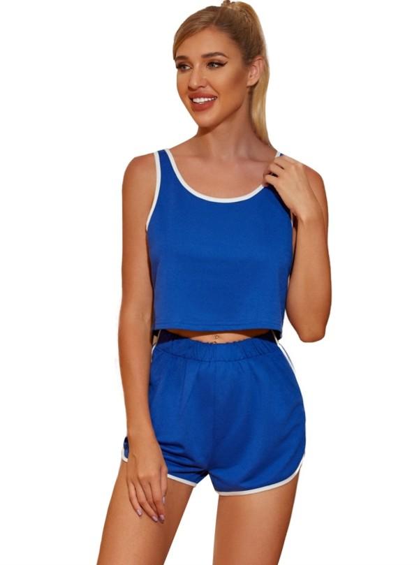 Blauer zweiteiliger Freizeitanzug mit ärmellosen Shorts