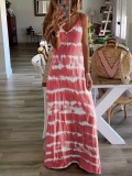Sommer Flitterwochen Tie Dye Strap Langes Kleid