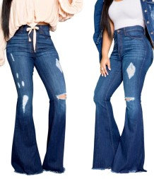 Stilvolle blaue High Waist Rip Flare Jeans