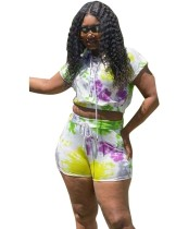 Plus Size Tie Dye Zweiteiliges Shorts Set