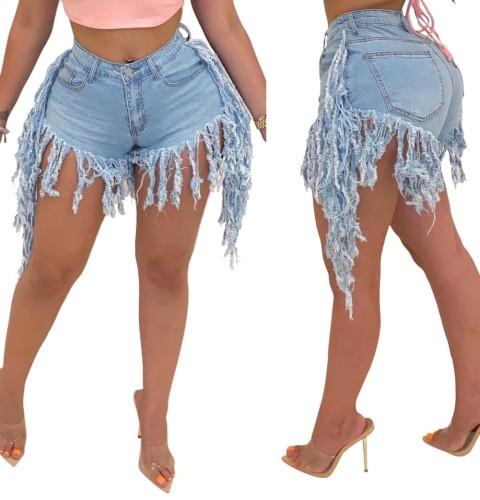 Stylish Tassels Denim Shorts