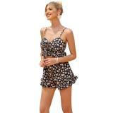 Summer Floral Lace Up Crop Top und passende Shorts