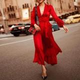 Vestido de noche liso con cuello en V y manga larga elegante occidental