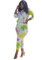 Plus Size Tie Dye Long Sleeve Tracksuit