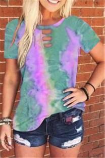 Summer Tie Dye O-Neck ausgeschnittenes Hemd