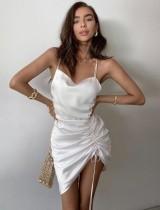 Robe de soirée sexy à franges irrégulières et froncée blanche
