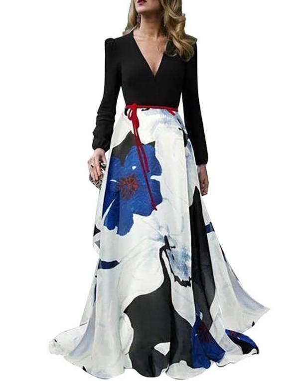Vestido de noche floral con cuello en V de manga larga elegante occidental