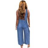 Blauer ärmelloser lockerer Jeansoverall