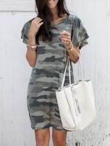 Sommer O-Ausschnitt Camou Shirt Kleid