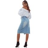 Falda de mezclilla con abertura en la cintura y cintura azul occidental