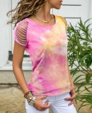Summer Tie Dye O-Neck Shirt mit Rip Sleeves
