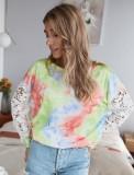 Tie Dye Рубашка с круглым вырезом и полыми рукавами