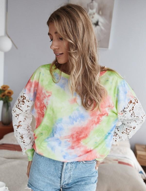 Tie Dye Rundhals-Shirt mit ausgehöhlten Ärmeln