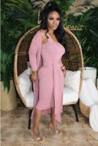 Effen kleur tweedelige bijpassende midi-jurk overallset