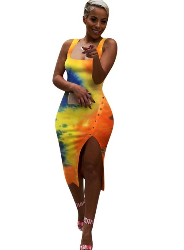 Vestido ajustado sin mangas con abertura tie dye sexy
