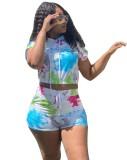 Plus Size Tie Dye Zweiteiliges Shorts Set