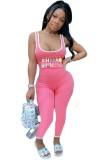 Ärmelloser Bodycon Jumpsuit mit sexy Print