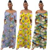 Lässiges süßes Sommer-afrikanisches langes Kleid des Drucks