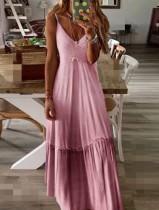 Vestido largo con tira gradiente de luna de miel de verano