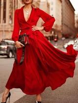 ウエスタンエレガントロングスリーブVネックプレーンイブニングドレス