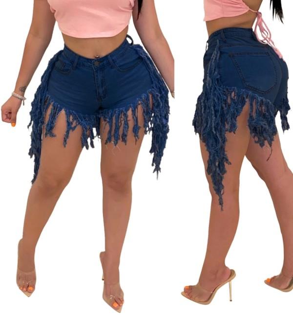 Stilvolle Quasten Denim Shorts