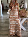 Vestido largo de luna de miel con tirantes tie dye