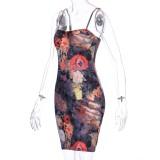 Elegante vestido de fiesta mini correa floral