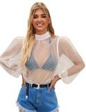 Camisa sexy de manga larga de malla con puntos