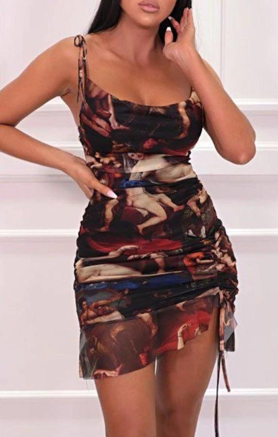 Sexy Print Strap Rüschen Club Kleid