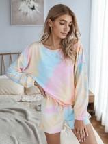 Autumn Tie Dye Zweiteilige Shorts Pyjama Set