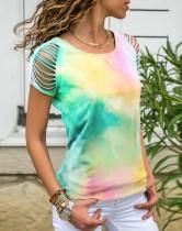 Camisa de verano con cuello redondo y manga tie dye