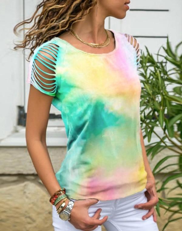 Summer Tie Dye O-Neck Shirt mit Rip Sleeves