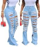 Jeans con estilo africano de cintura alta dañados