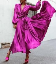 Western Elegant Long Sleeve V-Neck Plain Evening Dress