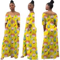 Vestido largo casual estampado verano africano largo