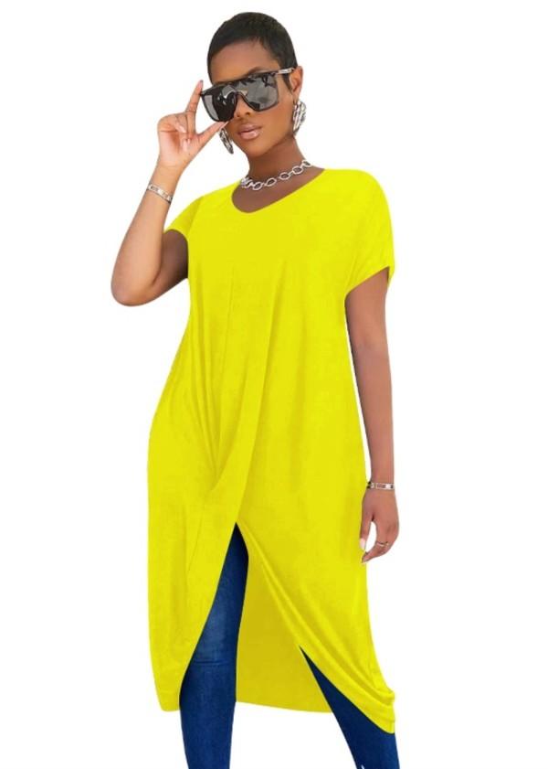 Camisa larga irregular africana del color sólido del verano