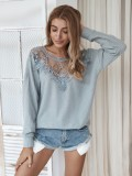 Herbst Hollow Out Round Neck Loose Shirt