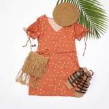 Sommer V-Ausschnitt Polka Minikleid