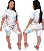 Summer Tie Dye Two Piece Shorts Set