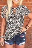 Sommer Leopard O-Neck Cut Out Shirt